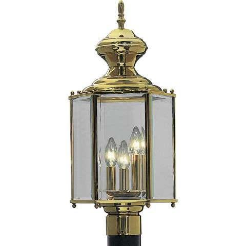 Progress P5432-10 Three-light post lantern in Polished Brass finish with clear beveled glass.