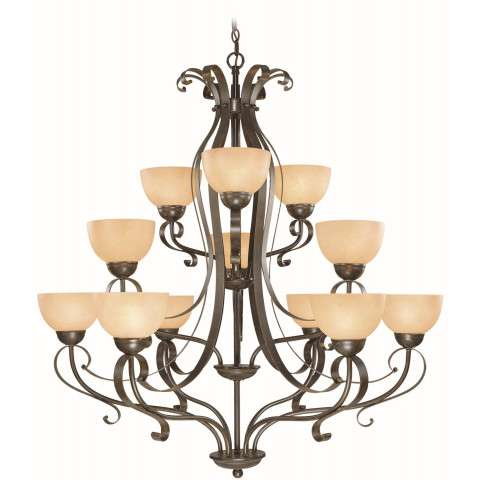Craftmade Exteriors Brookfield - Brownstone 12 Light Chandelier in Brownstone