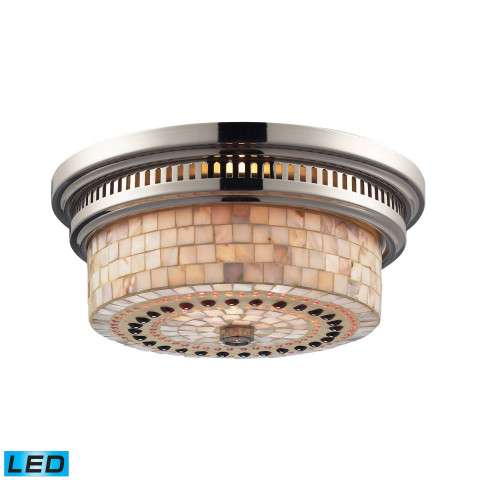 Chadwick 2-Light Flush Mount In Polished Nickel And Cappa Shell - LED - 800 Lumens (1600 Lumens To…