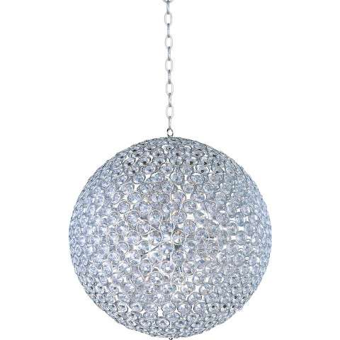 ET2 Contemporary Lighting E24018-20PC Brilliant 15-light Single Pendant in Polished Chrome finish with Crystals