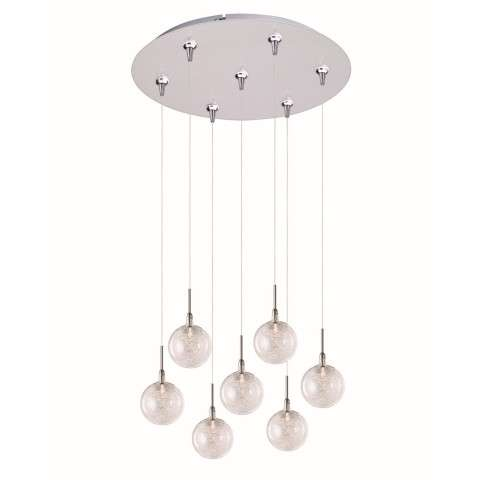 ET2 Contemporary Lighting E93772-79SN Starburst 7-light Multi-Light Pendant in Satin Nickel finish with Threaded glass