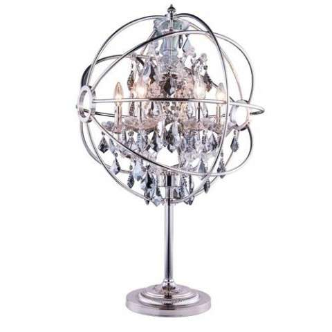 "1130 Geneva Collection Table Lamp D:22"" H:34"" Lt: Polished nickel Finish (Royal Cut Silver Shade Crystals)"
