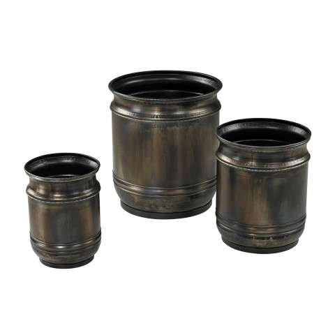 Planter - Set Of 3 Oxidised Finish Planters - Metal