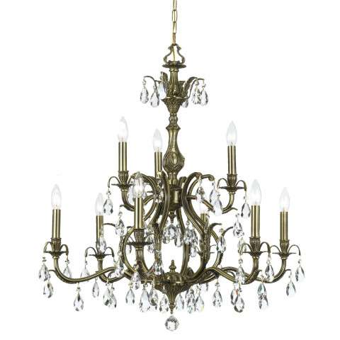 CLOSEOUT SPECIAL - Venice Collection Brass Chandelier in Antique Brass w/Clear Hand Cut Crystal.