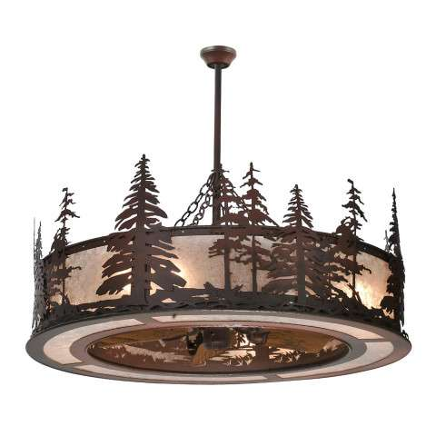 "Meyda 44"" Tall Pines Chandel-Air in Rust Iron and Silver Mica w/Oil Bronze Fan"