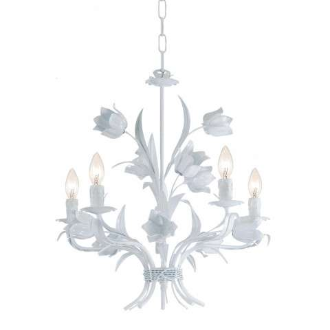 Crystorama 4815-WW Southport Handpainted Wrought Iron Chandelier