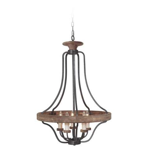 Jeremiah Indoor Lighting 5 Light Pendant In Texture Blk/Whiskey Barrel