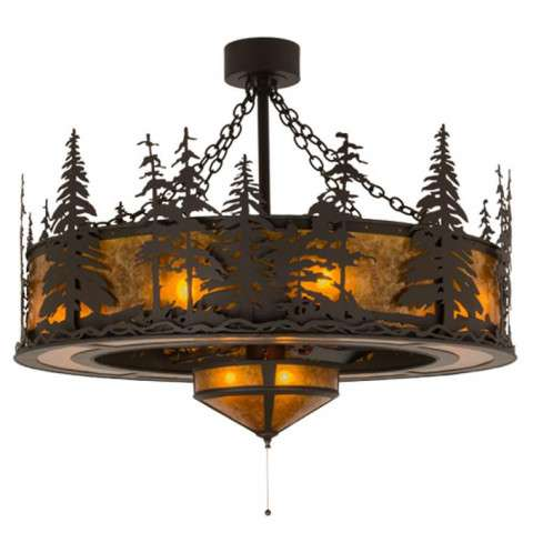 "Meyda 45"" Tall Pines Chandel-Air W/Fan Light in Oil Rubbed Bronze and Amber Mica w/Oil Bronze Fan"