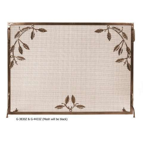 "Weston Fire Screen With Leaf Motif Bronze - 38"" Wide x 30"" Tall"