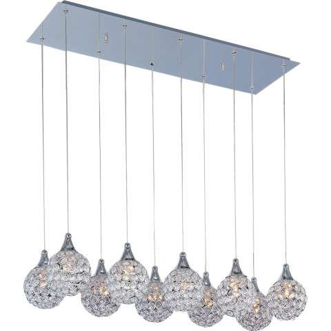 ET2 Contemporary Lighting E24028-20PC Brilliant 10-light Linear Pendant in Polished Chrome finish with Crystals