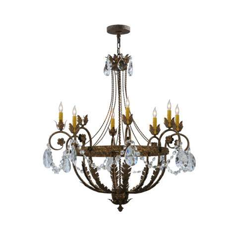 "39"" W Antonia 8 Lt W/Crystals Chandelier. Custom Crafted In Yorkville - New York Please Allow 30 Days"