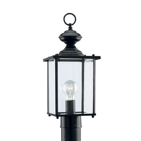 Seagull Lighting 8257-12 Single-Light Jamestowne Post Lantern in Black finish