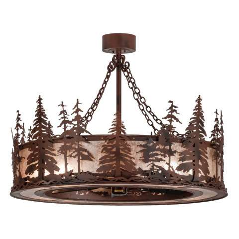 "Meyda 45"" Tall Pines Chandel-Air in Rust Iron and Silver Mica w/Oil Bronze Fan"