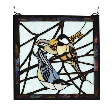 Meyda Tiffany 68387 Early Morning Visitors Stained Glass Window in Bark Brown finish