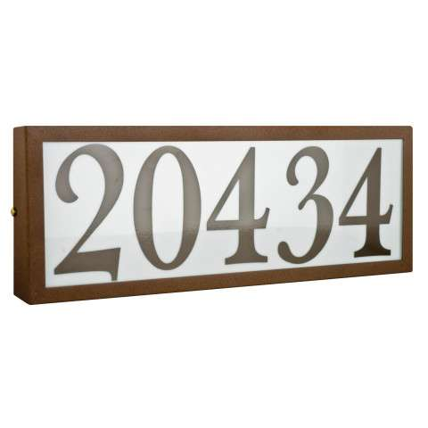 Sunset Lighting F10061-66 Large Address Light Standard 4 inch Numbers Brown Vinyl in Bronze Finish