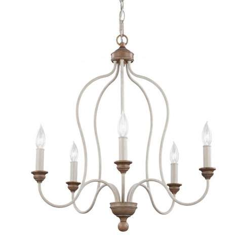 Hartsville 5 - Light Chandelier in Chalk Washed / Beachwood
