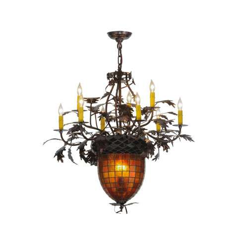 "34"" W Greenbriar Oak 9 Arm Chandelier. Custom Crafted In Yorkville - New York Please Allow 30 Days"