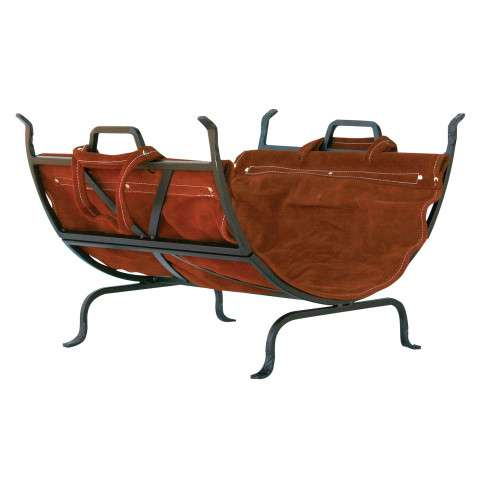 Uniflame W-1189 Olde World Iron Log Holder With Suede Leather Carrier