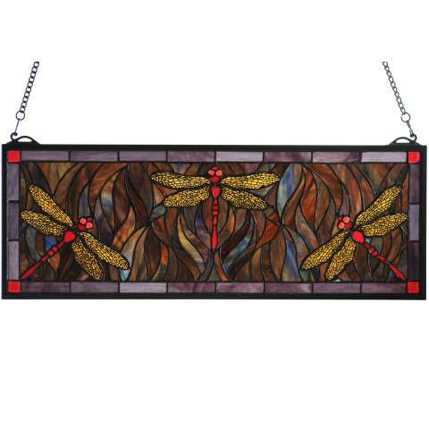 Meyda Tiffany 48091 Tiffany Dragonfly Trio Stained Glass Window in Copperfoil finish