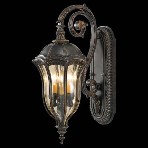 Murray Feiss OL6002WAL Baton Rouge Outdoor Lantern - Wall Mount in Walnut finish with Gold Luster Tinted Glass