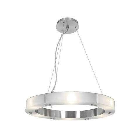 Oracle (s) Cable Ring Glass Dimmable LED Chandelier in Brushed Steel (BS) with Frosted (FST) Diffuser