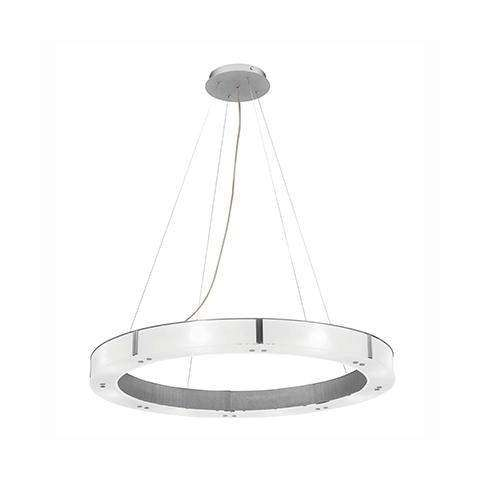 Oracle (l) Cable Ring Glass Dimmable LED Chandelier in Brushed Steel (BS) with Frosted (FST) Diffuser