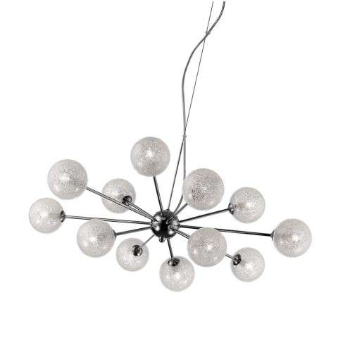 Opulence 12-Light Glitter Glass Chandelier in Chrome (CH) with Clear (CLR) Diffuser