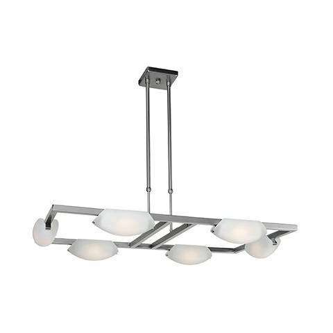 Nido 6-Light Dimmable LED Chandelier in Matte Chrome (MC) with Frosted (FST) Diffuser