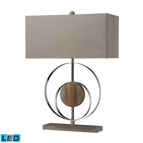 Shiprock Table Lamp In Bleached Wood With Chrom Finish With Led Bulb