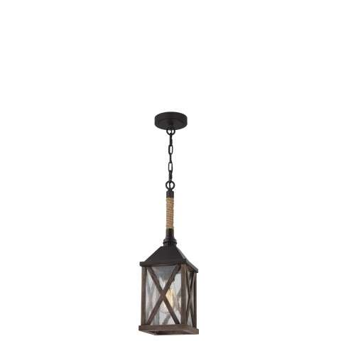 Lumiere´ 1 Bulb Dark Weathered Oak / Oil Rubbed Bronze Pendant