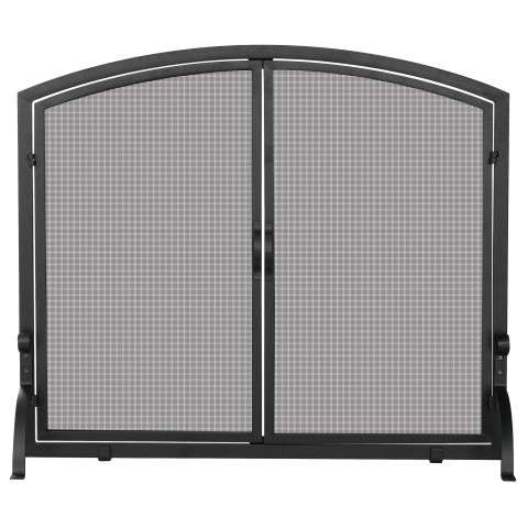 "Single Panel Black Wrought Iron Screen With Doors- Large - 44"" Wide x 34"" Tall"