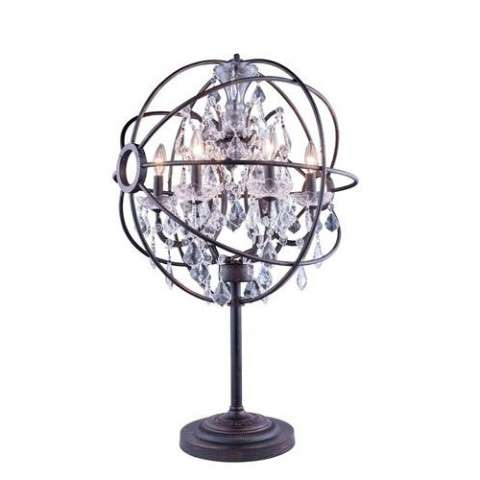 "1130 Geneva Collection Table Lamp D:22"" H:34"" Lt:6 Dark Bronze Finish (Royal Cut  Crystals)"