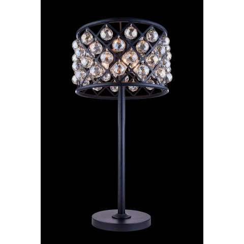 "1206 Madison Collection Table Lamp D:15.5"" H:32"" Lt:3 Mocha Brown Finish (Royal Cut Golden Teak  Crystals)"