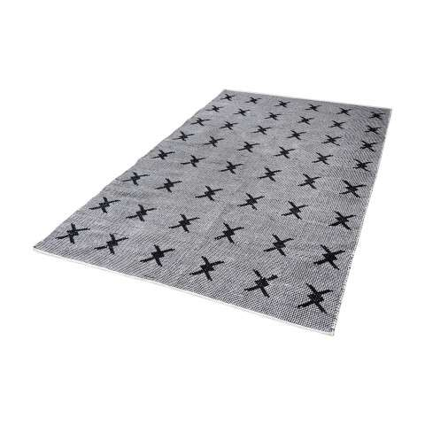 Eton Handwoven Cotton Flatweave Rug In Black And White - 2.5ft x 8ft
