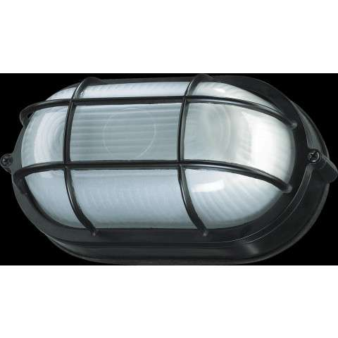 1 Light Oval Bulkhead in Black