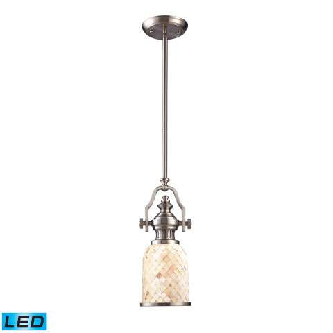Chadwick 1-Light Pendant In Satin Nickel And Cappa Shell - LED Offering Up To 800 Lumens (60 Watt…