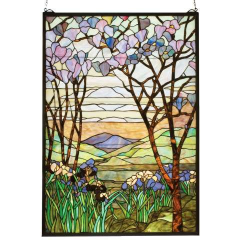 Meyda Tiffany 12514 Tiffany Magnolia and Iris Stained Glass Window in Copperfoil finish