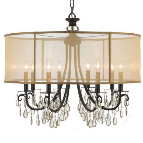 Hot Deal Collection Chandelier in Antique Brass w/Etruscan Smooth Oysters Crystals and Silk Shades.