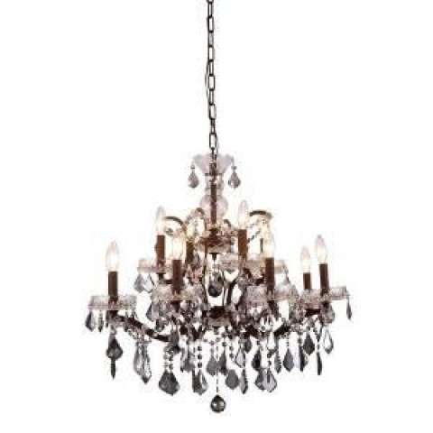 1138 Elena Collection Pendant Lamp D:26in H:25.5in Lt:12 Rustic Intent Finish Royal Cut Silver Shade (Grey)
