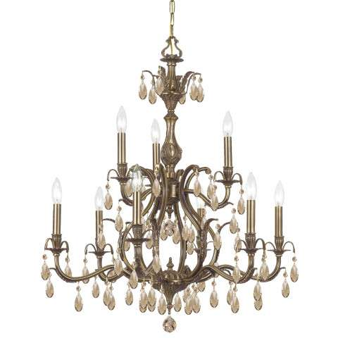 CLOSEOUT SPECIAL - Imperial Collection Brass Chandelier in Antique Brass w/Golden Teak Hand Cut Crystal.