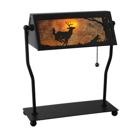 Meyda Tiffany 113076 Deer On The Loose Bankers Lamp in Black finish with Amber Mica