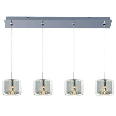 ET2 Contemporary Lighting E94949-146PC Minx 4-light Linear Pendant in Polished Chrome finish with Clear/Mirror glass