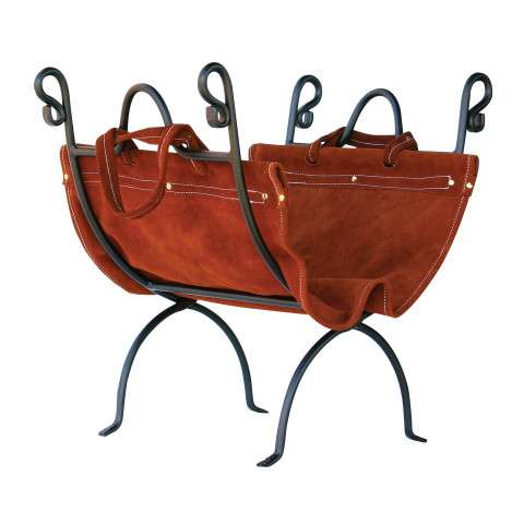 Uniflame W-1196 Olde World Iron Log Holder With Suede Leather Carrier