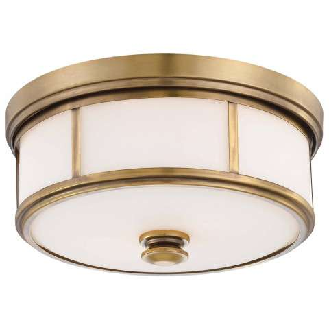 Minka Lavery 2 Light Flush Mount In Liberty Gold Finish W/ Etched Opal Glass