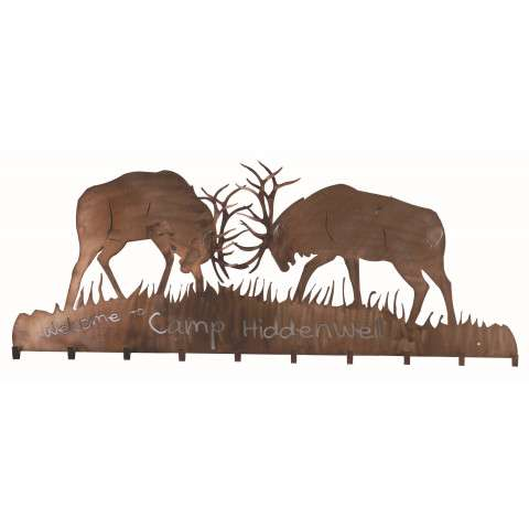 Meyda Tiffany 81543 Battling Bucks 10 Hooks Coat Rack in Antique Copper finish