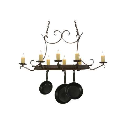 "51"" L Handforged Oval 8 Lt Pot Rack. Custom Crafted In Yorkville - New York Please Allow 30 Days"