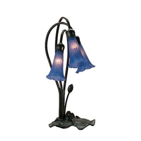 Meyda Tiffany 13746 Blue Pond Lily 3 Lt Accent Lamp in Mahogany Bronze finish