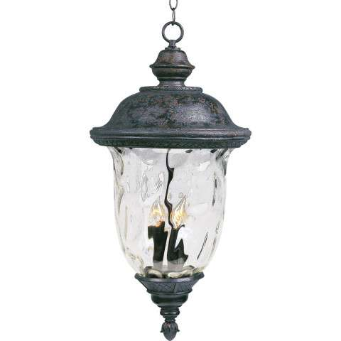 Maxim 40427WGOB Carriage House VX 3-Light Outdoor Hanging Lan in Oriental Bronze with Water Glass glass.