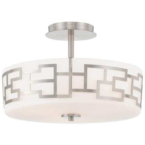 George Kovacs P198-084 3 Light Semi Flush in Brushed Nickel finish with Etched Opal Glass