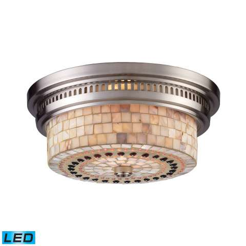 Chadwick 2-Light Flush Mount In Satin Nickel And Cappa Shell - LED - 800 Lumens (1600 Lumens Total…